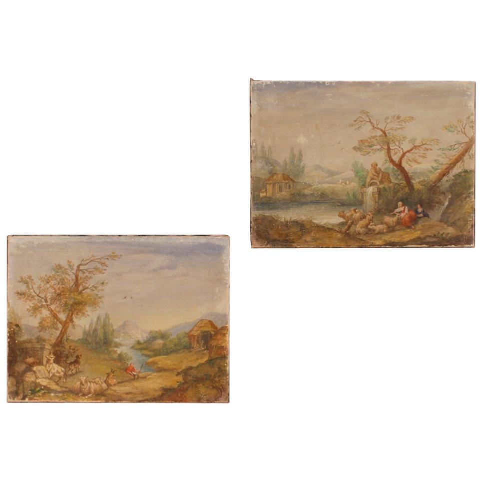 Pair of Italian Landscape Paintings Tempera on Canvas, 20th Century