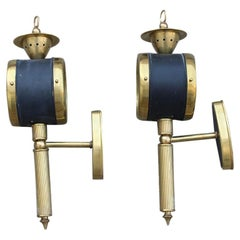 Pair of Italian Lantern Sconces from 1950 in Brass Gold Enameled Metal Black