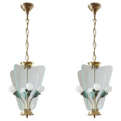 Pair of Italian Lanterns, 1940s, Brass and Cut Glass
