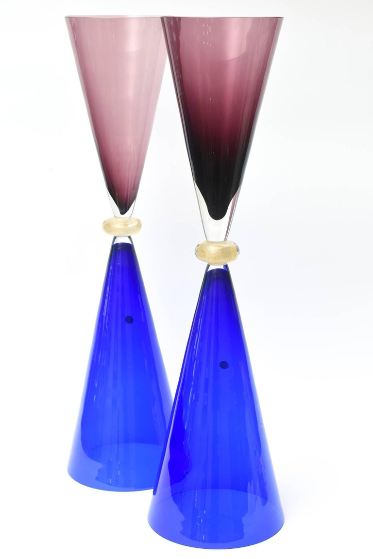 Modern Seguso for Oggetti Murano Glass Tall Sculptures or Vases Italian Vintage Pair For Sale