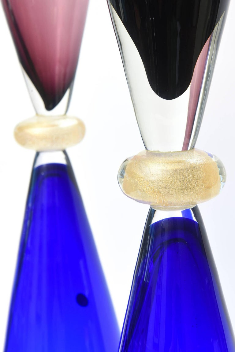 Blown Glass Seguso for Oggetti Murano Glass Tall Sculptures or Vases Italian Vintage Pair For Sale