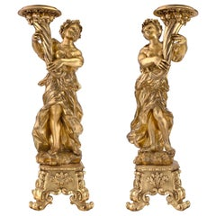 Pair of Italian Late 17th Century Baroque Period Giltwood Torchières