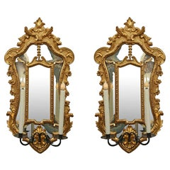 Pair of Italian Late 18th Century Giltwood Mirrored Sconces