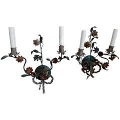 Pair of Italian Late 18th Century Painted Toile Floral Sconces with Two Lights