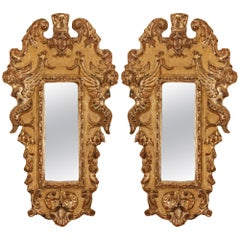 Pair of Italian Late 18th Century Silver Leaf Mirrors