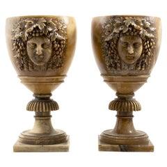 Pair of Italian Late 19th Century Alabaster Urns