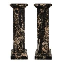 Pair of Italian Late 19th Century Louis XVI Style Porto Marble Pedestals