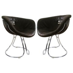 "Pair of Italian Leather and Chrome ""Pan Am"" Chairs by Gastone Rinaldi for Rima"