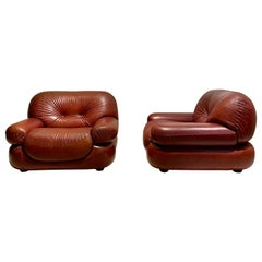 Pair of Italian Leather Armchairs by Sapporo for Mobil Girgi, 1970's