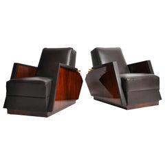 Pair of Italian Leather Armchairs