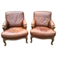Pair of Italian Leather Armchairs