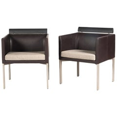 Pair of Italian Leather Club Chairs with Rubber Back Rails, Style of A. Citterio