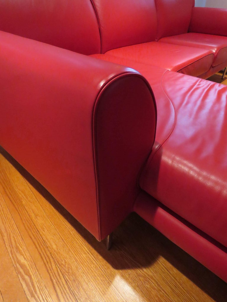 Pair of Italian Leather Poltrona Frau Modular Sofas 5