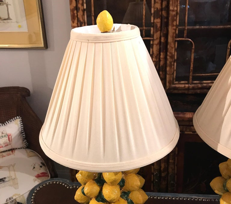 Pair of Italian Lemon Topiary Lamps In Good Condition For Sale In West Palm Beach, FL