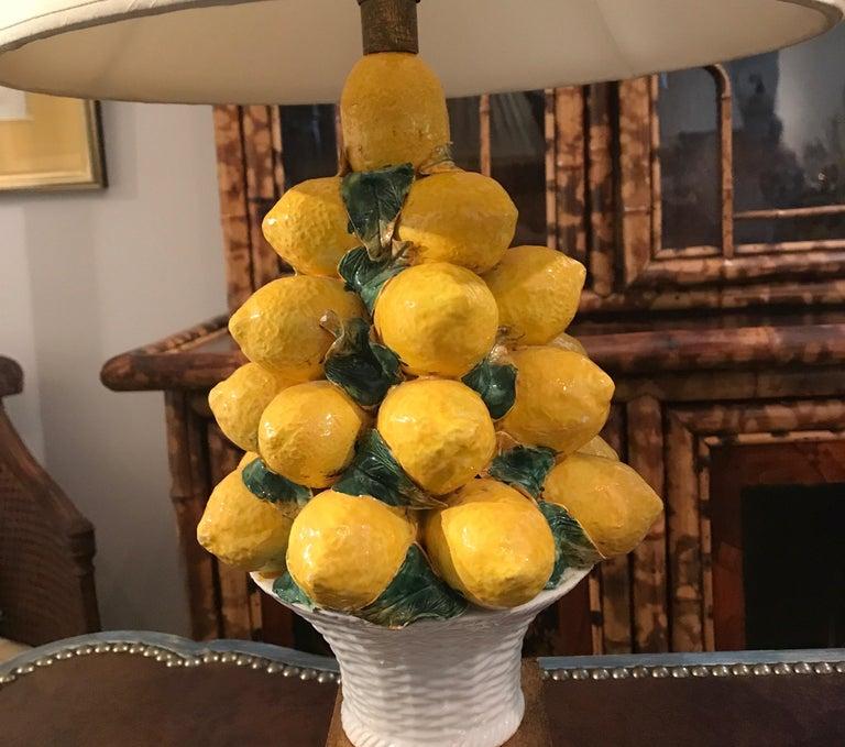 Terracotta Pair of Italian Lemon Topiary Lamps For Sale