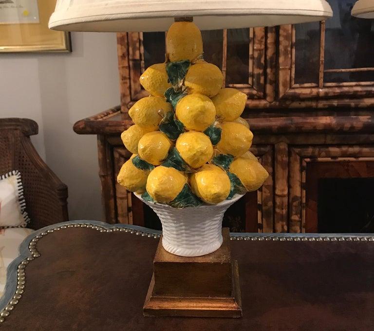 Pair of Italian Lemon Topiary Lamps For Sale 2