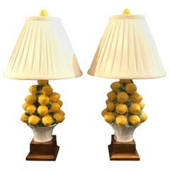 Pair of Italian Lemon Topiary Lamps