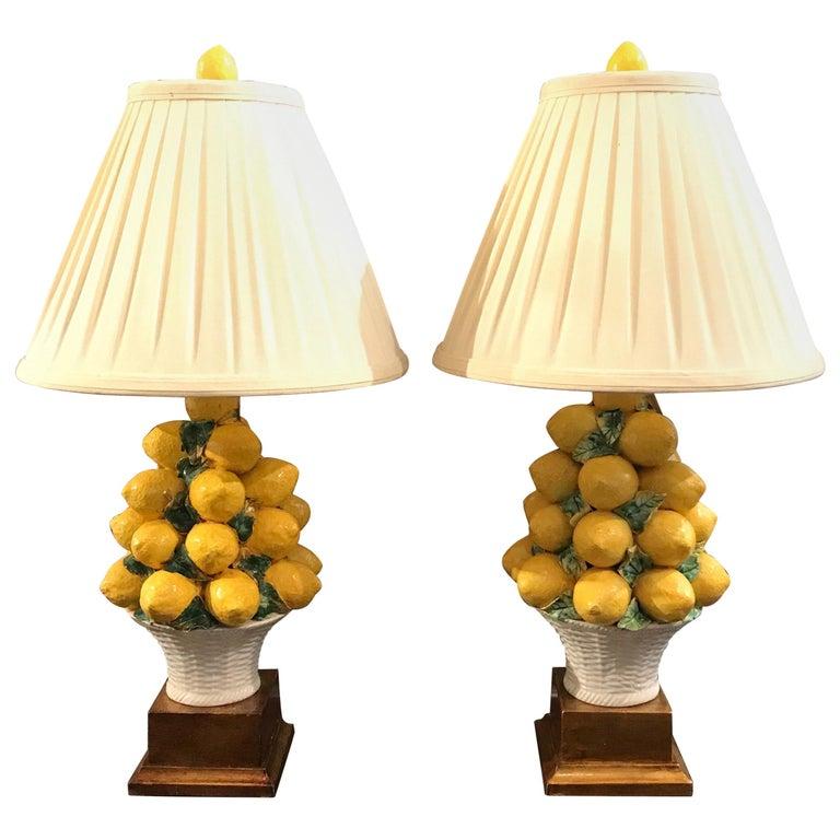 Pair of Italian Lemon Topiary Lamps For Sale