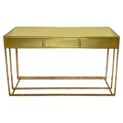 Pair of Italian Lemon Yellow Mirror and Brass Consoles with Drawers