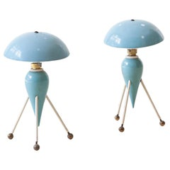 Pair of Italian Light Blue Abat Jour, 1950s