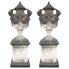 Pair of Italian Limestone Monumental Garden Vases 18th Century Style