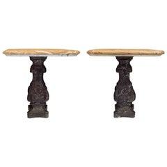 Pair of Italian Louis XIV Period 17th Century Pedestal Tables