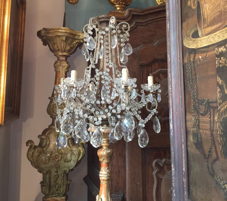 Pair of Italian Louis XV Gilt Candlesticks Tall Lamps with Crystal Flambeaux For Sale 3