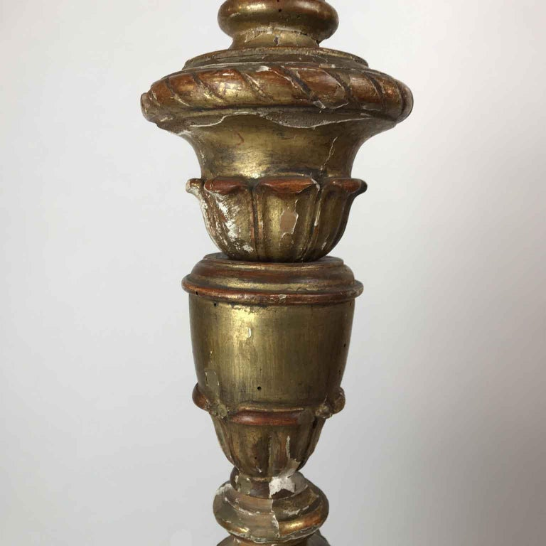Hand-Carved Pair of Italian Louis XV Gilt Candlesticks Tall Lamps with Crystal Flambeaux For Sale