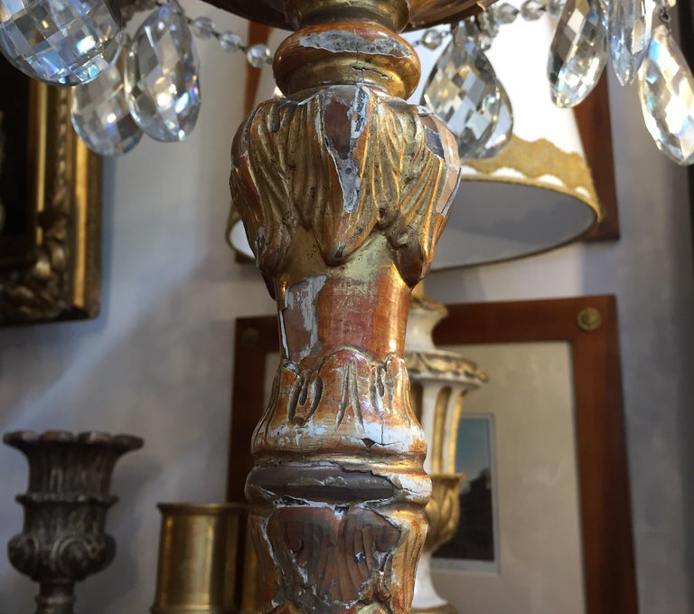 Pair of Italian Louis XV Gilt Candlesticks Tall Lamps with Crystal Flambeaux For Sale 1