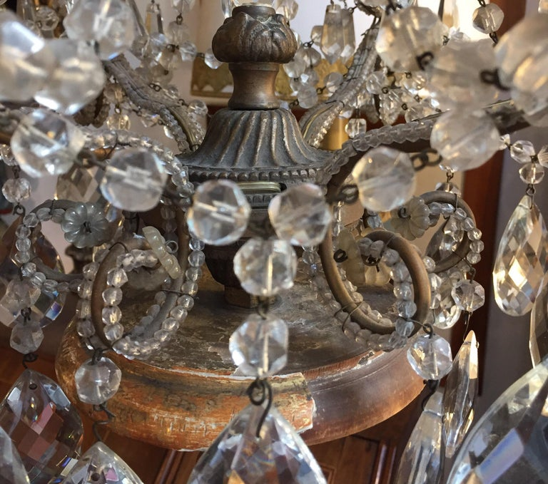 Pair of Italian Louis XV Gilt Candlesticks Tall Lamps with Crystal Flambeaux For Sale 2