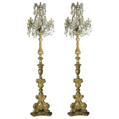 Pair of Italian Louis XV Gilt Candlesticks Tall Lamps with Crystal Flambeaux