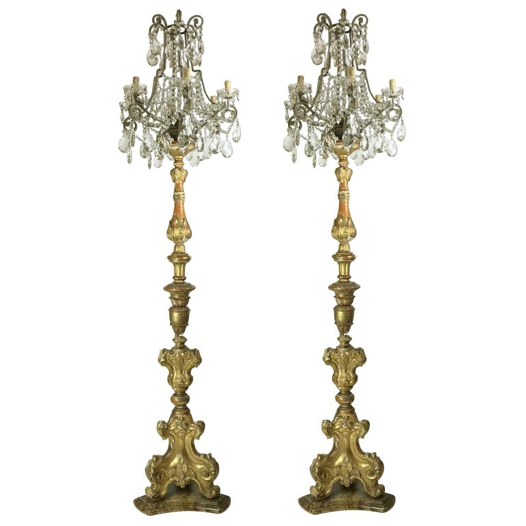 Pair of Italian Louis XV Gilt Candlesticks Tall Lamps with Crystal Flambeaux For Sale