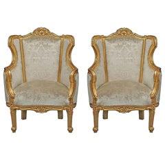 Pair of Italian Louis XV Style Giltwood Bergères