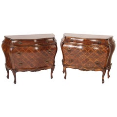 Pair of Italian Louis XV Style Bombe Chests of Drawers