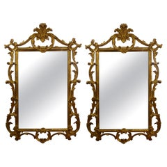 Pair of Italian Louis XV Style Giltwood Mirrors