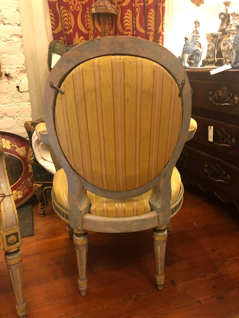 Wood Pair of Italian Louis XVI Oval Back Fauteuils For Sale