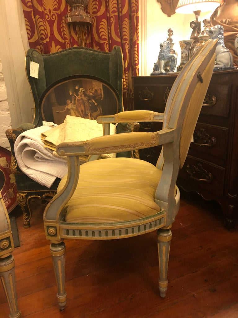 Pair of Italian Louis XVI Oval Back Fauteuils For Sale 1