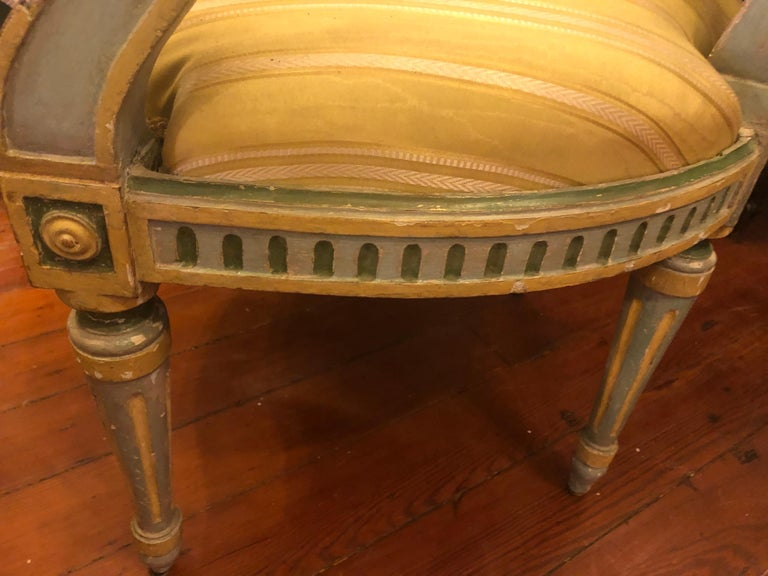 Pair of Italian Louis XVI Oval Back Fauteuils For Sale 2