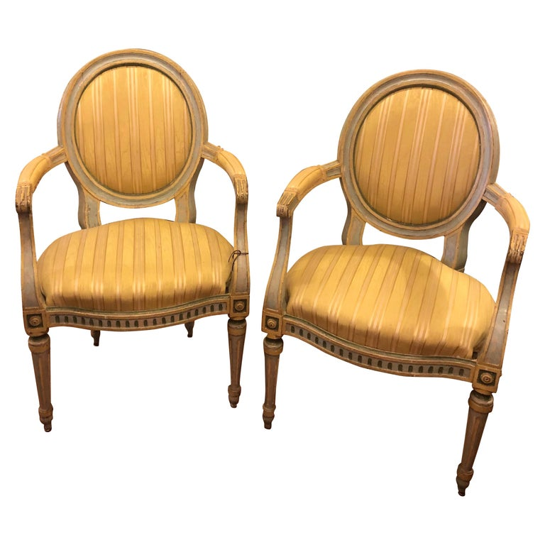 Pair of Italian Louis XVI Oval Back Fauteuils For Sale