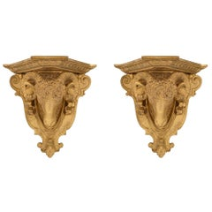 Pair of Italian Louis XVI St. Giltwood Wall Brackets