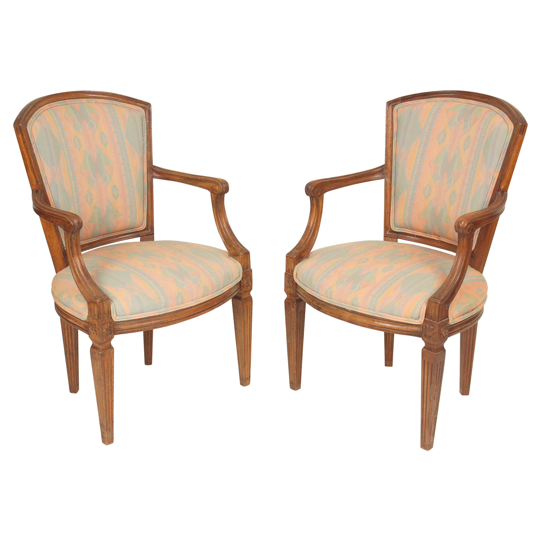 Pair of Italian Louis XVI Style Armchairs