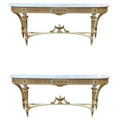 Very Fine Italian Louis XVI Style Carved and Parcel Gilt Consoles