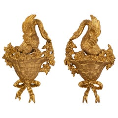 Pair of Italian Louis XVI Style Carved Giltwood Wall Decor