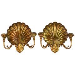 Pair of Italian Louis XVI Style Palladio Two-Arm Gilt Shell Sconces