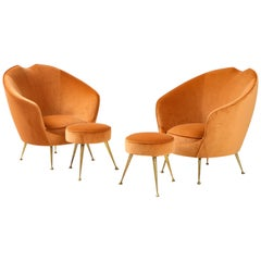 Pair of Italian Lounge Chairs and Matching Stools by I.S.A. Bergamo