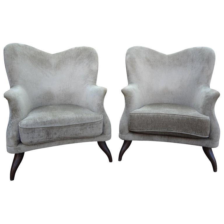 Pair of Italian Lounge Chairs Attributed to Paolo Buffa For Sale