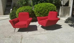 Pair of Italian  Lounge Chairs by Lenzi