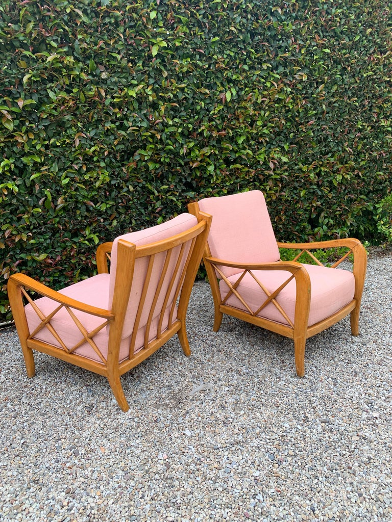 Pair of Italian Lounge Chairs by Paolo Buffa For Sale 4