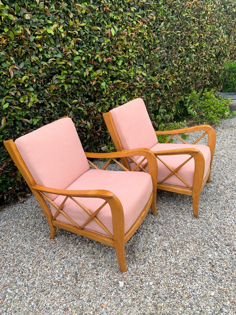 Pair of Italian Lounge Chairs by Paolo Buffa For Sale 6