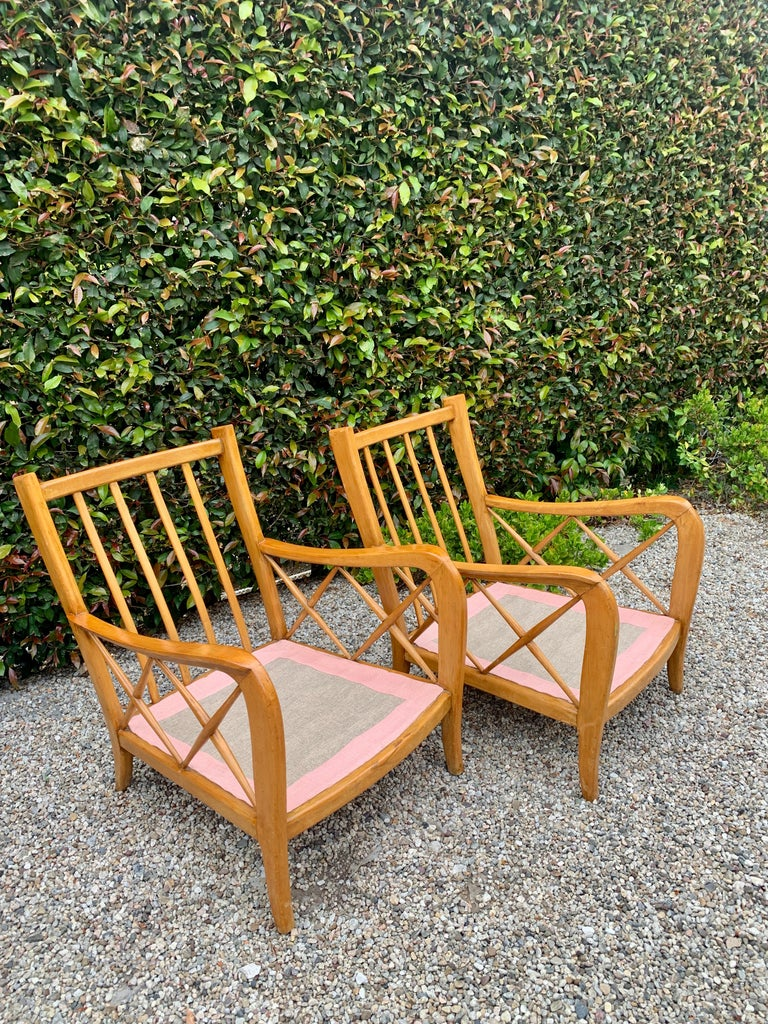 Pair of Italian Lounge Chairs by Paolo Buffa For Sale 7